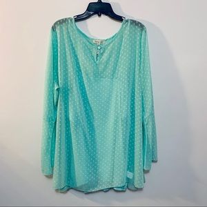 Indigo Soul Sheer Bell Sleeve Top Plus Size 3X